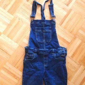 Dark blue denim overalls